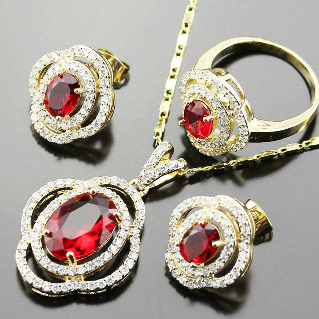 3pcs Yellow Gold Color Red Created Garnet Jewelry Sets For Women Wedding Zircon Necklace Earrings