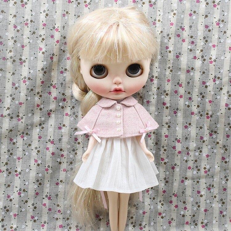 Neo Blythe Doll Pink White Cloak Dress 4