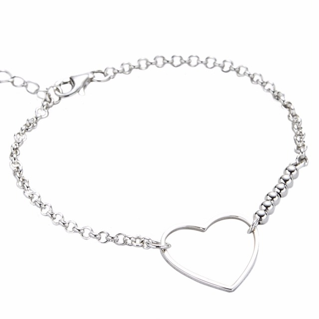 Hfarich 925 Sterling Silver Heart Bracelet For Women Geomtric Bead Wedding Gift