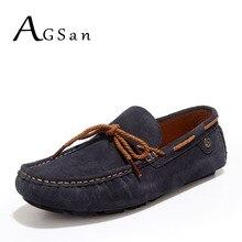 AGSan zapatos sperrys zapatos del barco para hombre mocasines de conducción de los hombres de cuero de gamuza gris rojo azul inglaterra clásico masculino