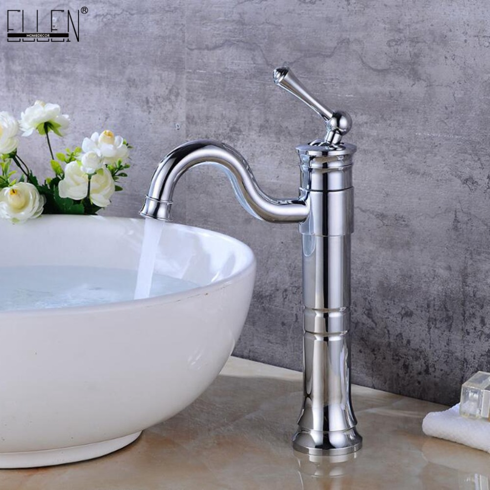 Bathroom Tall Basin Sink Faucet Hot and Cold Water Mixer Crane Antique Bronze Faucets Deck Mounted Single Handle ELF1301 pull out bathroom sink mixer tall antique bronze basin sink crane hot and cold water copper mixer tall crane 7530