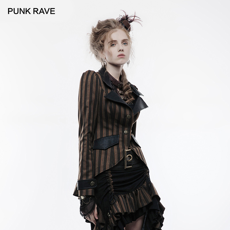 PUNK RAVE Steampunk Women s Stripe Brown Long Sleeve Jacket Fashion Striped with Leather Swallowtail Vintage