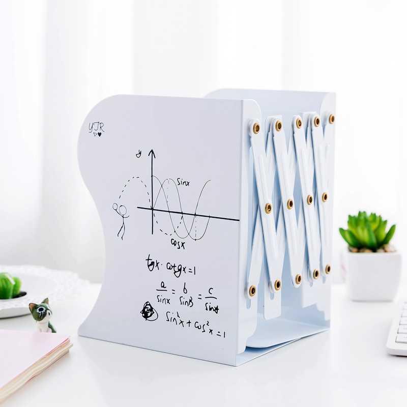 1 Uds. Libertad de ajustar estantería sujetalibros de metal grande soporte de escritorio para libros organizador papelería (blanco)