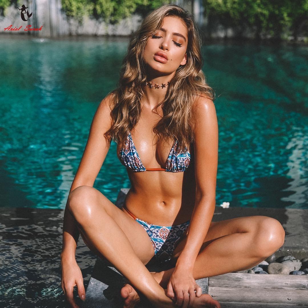 Ariel Sarah 2018 Bikini Set Sexy Swimwear Bandage Swimsuit Women Printed Floral Bikini Bathing Suit Biquini Beach Wear Monokini