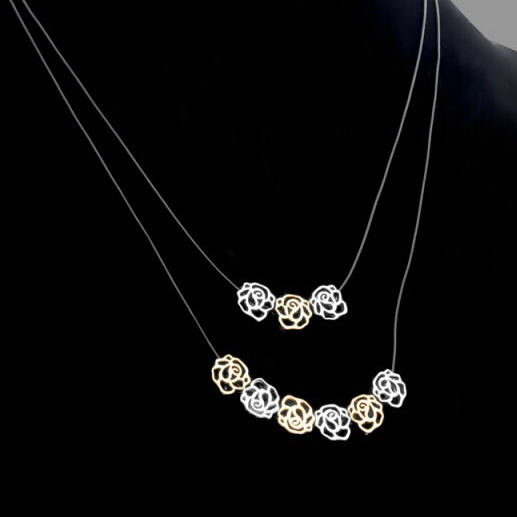 Bohemian Double Layer Leather Chain Retro Roses Collier Necklaces Pendants Bijoux Jewerly Fashion Casual Christmas Gift