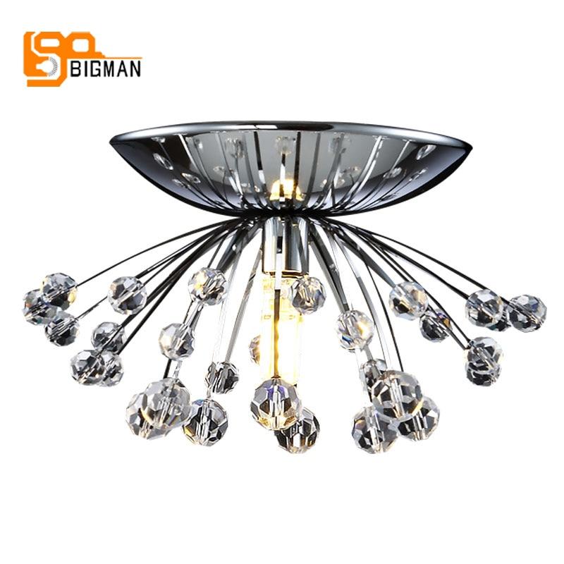 high quality fancy crystal ceiling lights lustre plafonnier led moderne lamps for hallway  and bedroom. AC110V 220V Led light