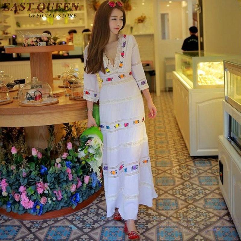 estilo elegante del vcuello vestido maxi boho tnico tnico ropa patchwork de encaje ptalo