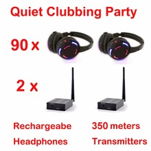 Silent Disco complete system led wireless headphones – Quiet Clubbing Party Bundle (90 Headphones + 2 Transmitters)