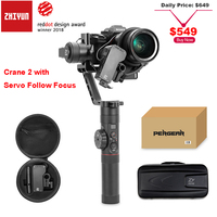 Zhiyun Crane 2 3 axis Brushless Handle Gimbal Stabilizer with Follow Focus Remote for Sony Camera Payload 3.2Kg OLED Display