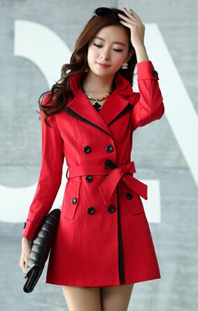Cor sólida lapela mulheres Trench Plus Size 3XL outono nova coreano de longo casaco com cintos Abrigos Mujer 2016 Gabardinas