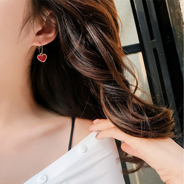 Купить женские серьги в виде сердца chimera простые красные подвески