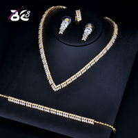Be 8 Luxury Gold color Real Micro Pave Setting AAA Cubic Zirconia Leaves Shaped 4pcs Dubai Jewelry Set for Dinner Party S130