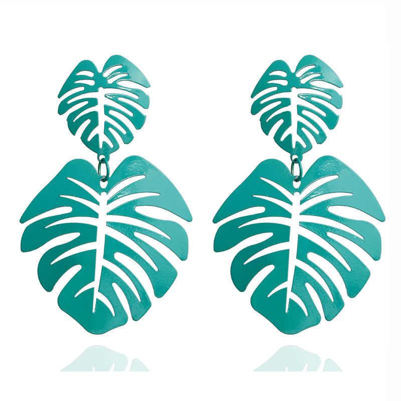 2020 บิ๊ก Leaf Drop ต่างหูสำหรับผู้หญิงงบ VINTAGE เรขาคณิตโลหะโมเดิร์น Dangle Fashoion ต่างหูเครื่องประดับโมเดิร์น