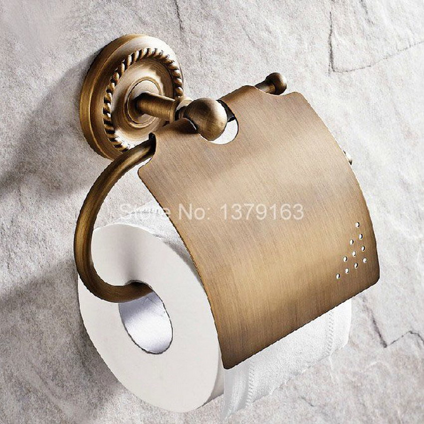 все цены на  Antique Brass Wall Mounted Copper Toilet Paper Roll Holder Bathroom Accessory Free Shipping! aba106  в интернете