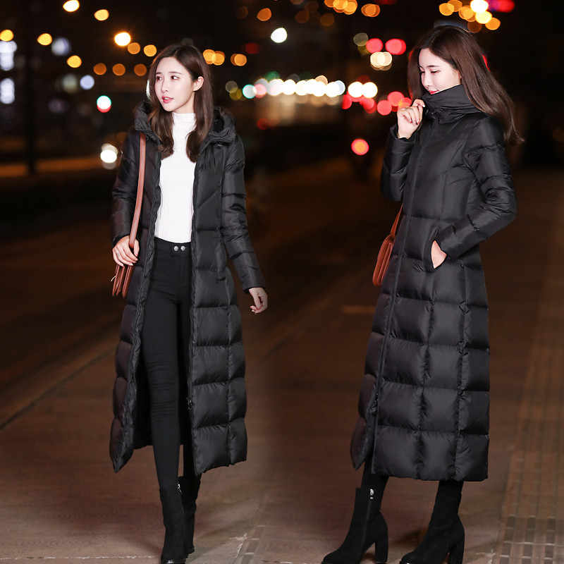 Winter Women Outerwear 2019 New Medium Long Hooded Large Size  Female Down Jacket Slim High Quality Ladies Down Jacket Qw138