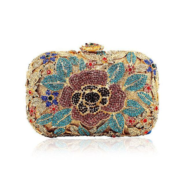 Both Side Handmade Diamond Flower Crystal Evening Bag Clutch Bags Upscale Styling party Day Clutches Lady Wedding Purse LI-1060