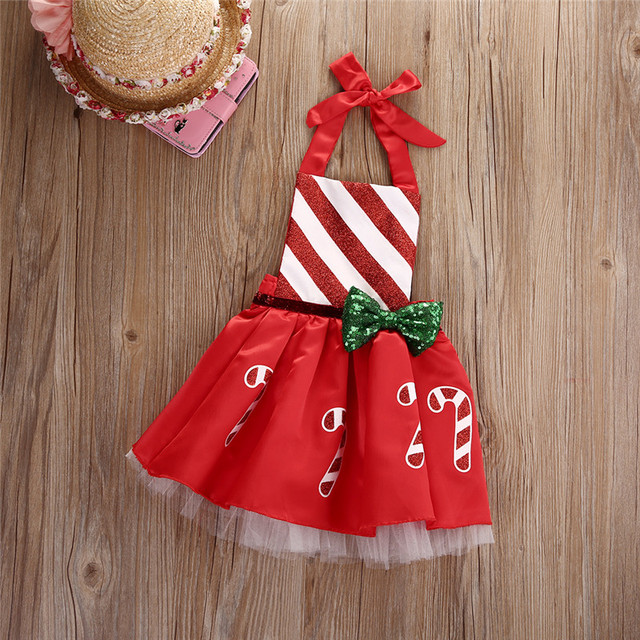 Toddler Christmas clothes Baby Girl Bow Striped Candy Cane Dress Kids  Outfits Costume - Toddler Christmas Clothes Baby Girl Bow Striped Candy Cane Dress