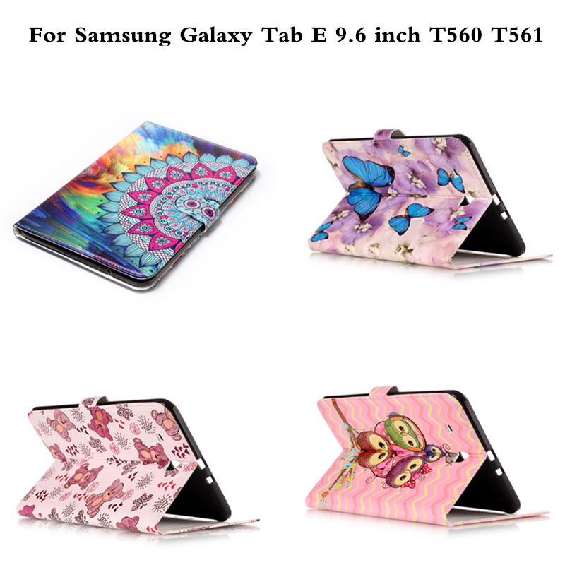Fashion Animal Flip PU Leather Cover sFor Samsung Galaxy Tab E 9.6  inch Case For Samsung Galaxy Tab E 9.6'' T560 SM-T560 T561 luxury flip stand case for samsung galaxy tab 3 10 1 p5200 p5210 p5220 tablet 10 1 inch pu leather protective cover for tab3