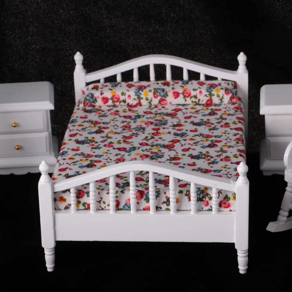 Kids 6Pcs 1:12 Dollhouse Miniature White Wooden European Retro Bedroom Furniture Set Classic Toy Gift for Child Dolls Accesssory