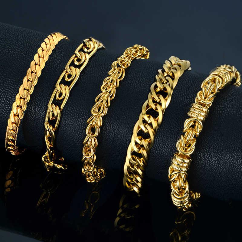 Wholesale Braslet Linked Jewelry Men's Bracelets Gold Color Chain Link Bracelets For Women Mens Gold Chain