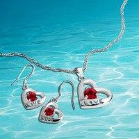 925 bijoux en argent sterling ensembles, collier boucles d'oreilles deux pièces, femmes accessoires de mode amour cadeau.