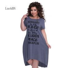 5XL 6XL Plus Size Women Dresses Letter Print Large Casual Summer Dress Big Loose Style Party Vestidos