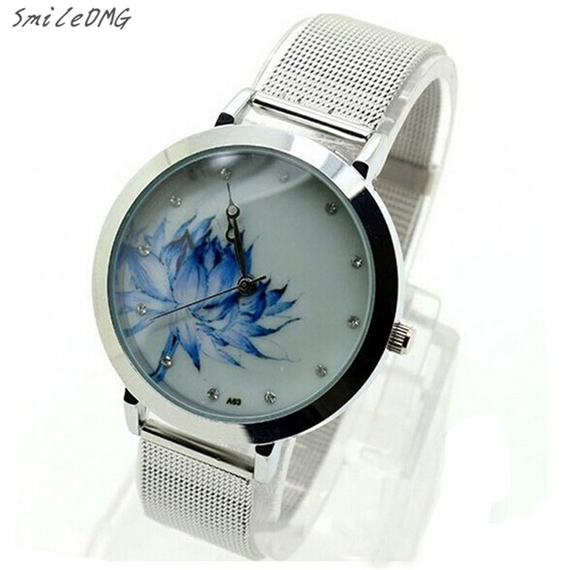 SmileOMG Hot Sale Women Fashion Blue Lotus Stainless Steel Mesh Quartz Wrist Watch Free Shipping Christmas Gift,Sep 5 smileomg hot sale fashion women watch panda faux leather band analog quartz wrist watch christmas gift free shipping sep 6