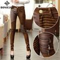 Calça Jeans de Cintura alta Para As Mulheres Calças De Couro PU Outono Elástico Jean Com Couro Calças Lápis Calças Jeans Skinny Plus Size calças de brim