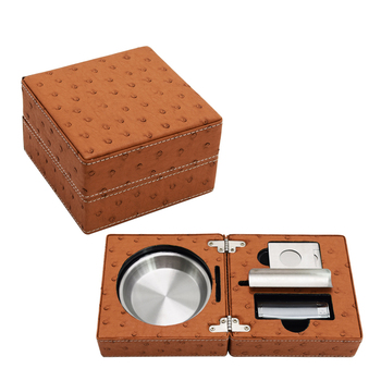 OSTRICH LEATHER Pattern SMOKE TRAVEL SET Table Cigar ASHTRAY CUTTER LIGHTER  cigar accessories Gift Sets Smoke Tools Box Humidor