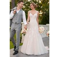 Eightale Beach Wedding Dress Boho Lace Bridal Dress Appliques Spaghetti Strap Tulle Romatic Wedding Gowns trouwjurken