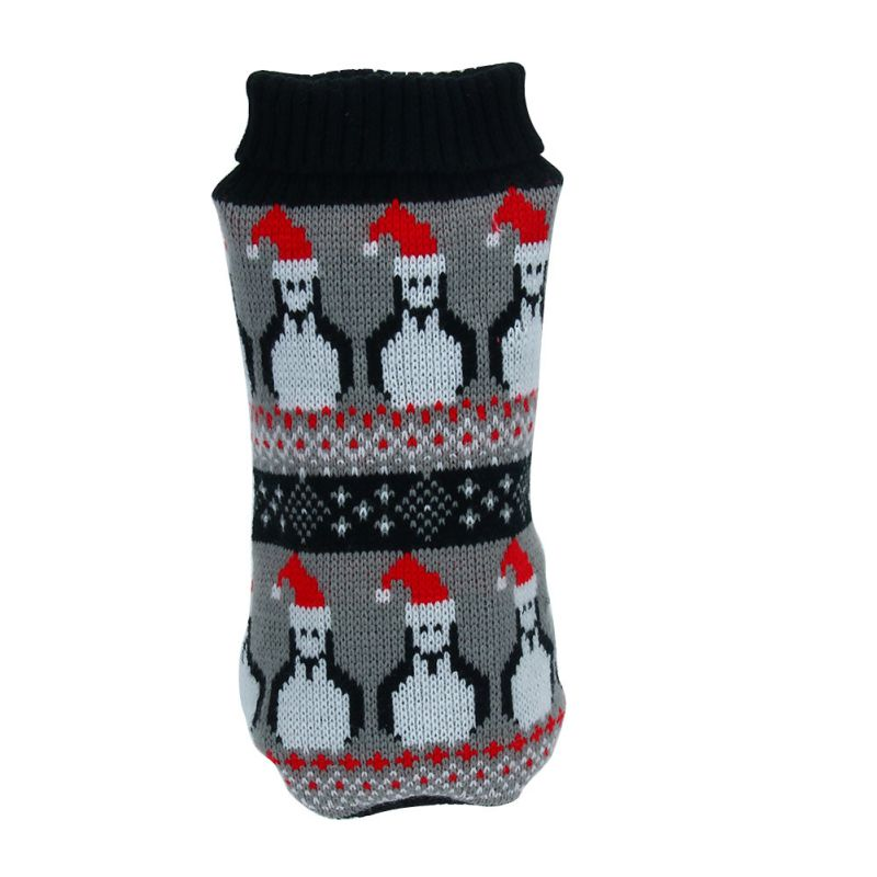 Raking Christmas Knitted Cotton Dog Hoody Turtleneck Sweater Jumper Costume Clothes Apparel Outfit L, Deer-Red