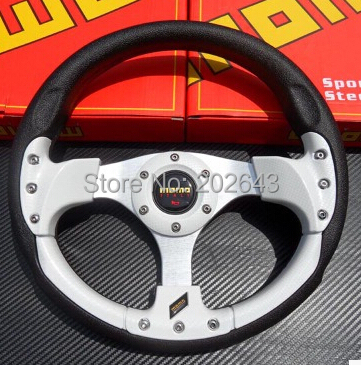 RACING car steering wheel with pvc 13 320MM red/silver with aluminum leather sport steer ...