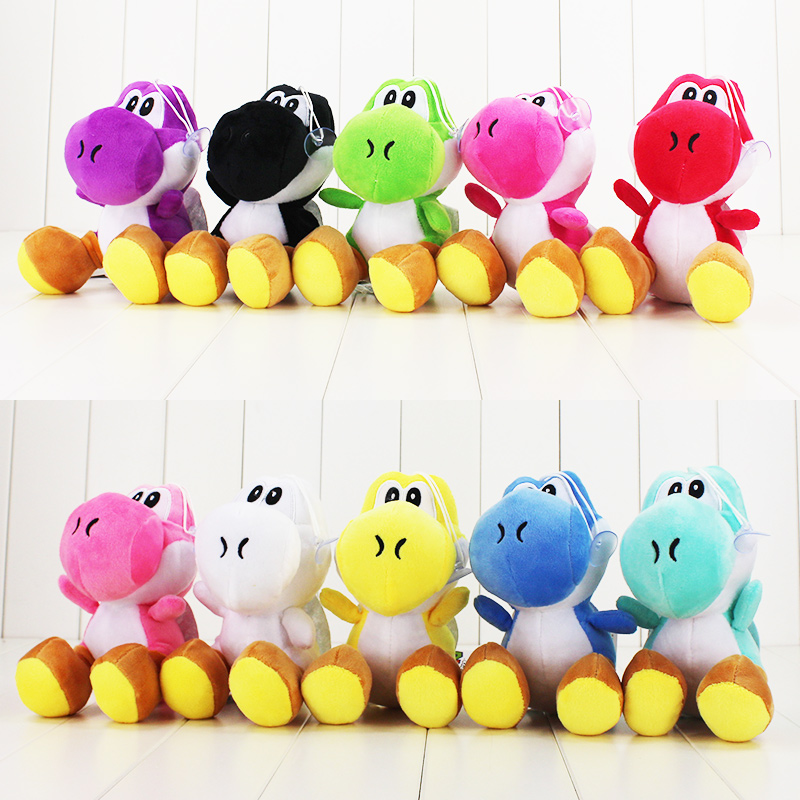 цена 17CM Super Mario Bros Green Yoshi Plush Stuffed toys Dolls Mario Plush Toys Red Blue Yoshi Dolls Free shipping онлайн в 2017 году