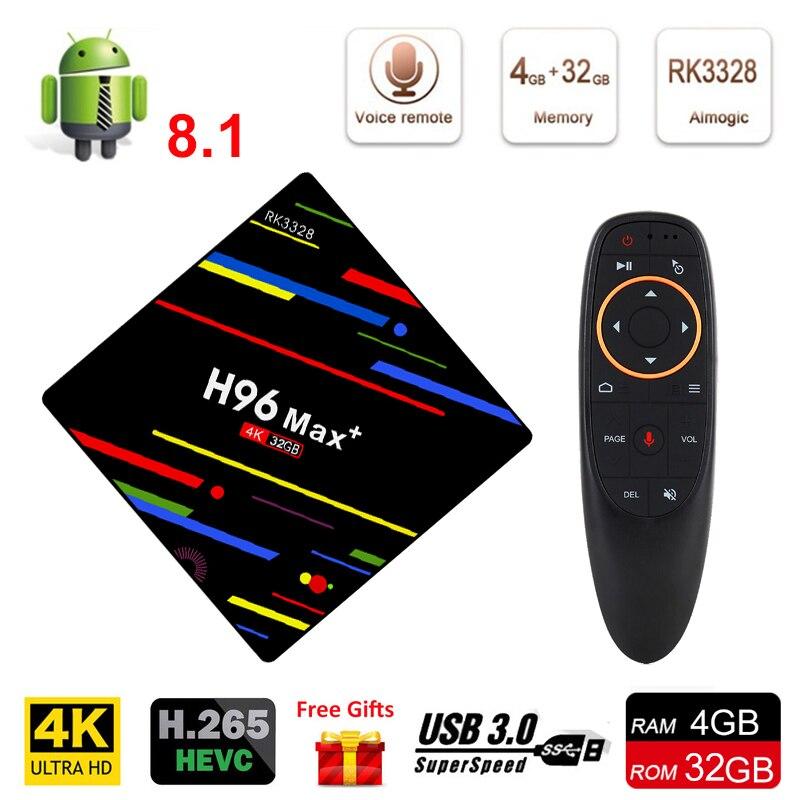 H96 Max Android 8.1 Smart TV BOX RK3328 4G DDR3 32G EMMC ROM Set Top Box 4K 3D H.265 Wifi TV Smart Receiver USB 3.0 Media Player цена