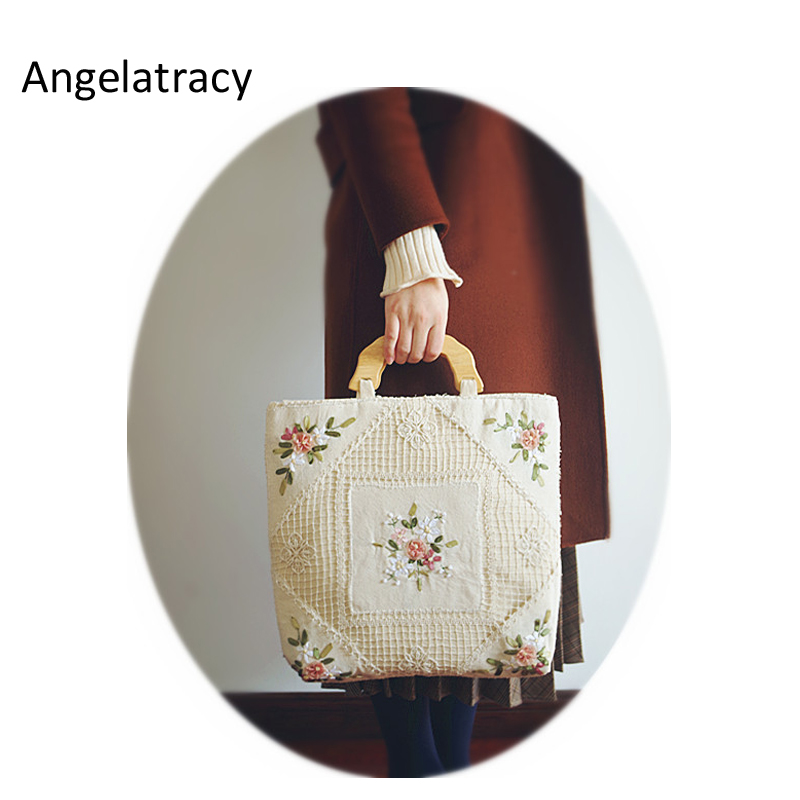 Angelatracy Handmade Vintage Flower Bag Handmade Crochet Handbag Floral Beige Handbag Flower Embroidery Shoulder Bags Women Tote