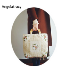 Angelatracy Handmade Vintage Flower Bag Crochet Handbag Floral Beige Embroidery Shoulder Bags Women Tote