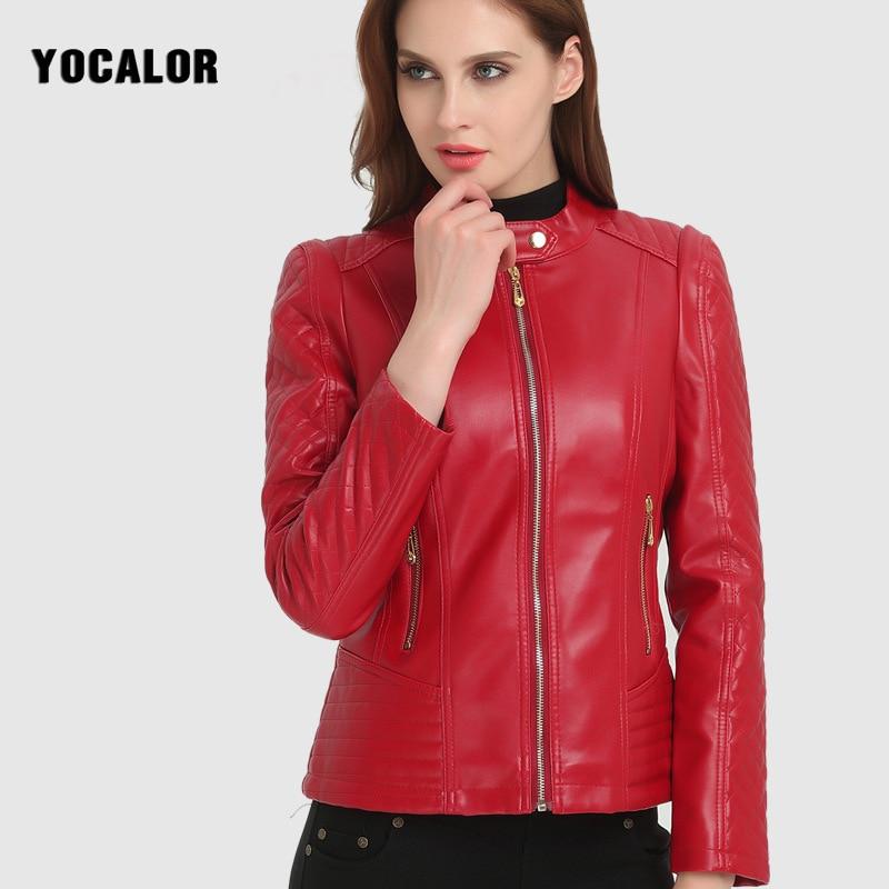 2018  Basic Jackets  Fashion Woman Short Motorcycle Pu Leather Zipper Red Jacket For Female Women Autumn Large Sizes Outerwear