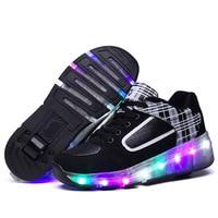 Eur Size 27 43 Children Tenis LED Sneakers Single Wheel Flame Buty Led Luminous Boys Girls