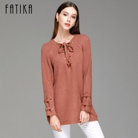FATIKA 2017 Autumn Winter New Fashion Womens Pullovers And Sweaters Side Lace Up V Neck Knitted