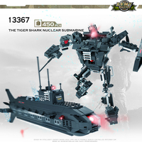 COGO Deformation Mech Educational Building Blocks Toys For Children Kids Gifts submarine Robot Compatible With Legoe