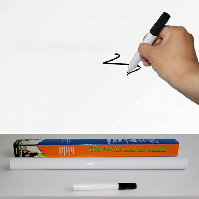 SOSW-Peel And Stick Whiteboard PVC Sticker Free Marker Pen 45cmx200cm
