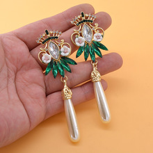 Baroque court style female king fan crown inlaid  vintage pierced flower drop pearl fashion earrings