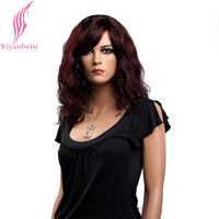Yiyaobess 16inch Synthetic Medium Long Curly Wig With Bangs Natural Auburn Hair Wigs For Women Japanese Fiber