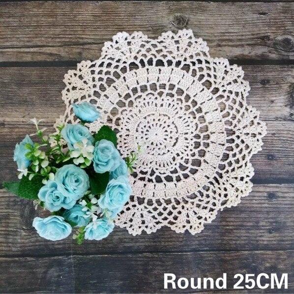 Luxury White Cotton Coffee Mug Table Coaster Crochet Floral Pattern Dish Pad Bow Mat Wedding Doily Christmas Tablecloth Decor