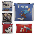 Vintage Cotton Linen Scandinavian Tintin Cushion Car Sofa Decorative Cushion Cover Nordico Fundas Para Cojines No filler