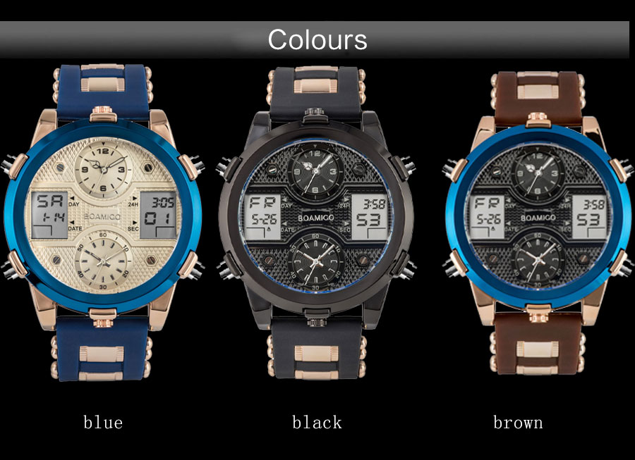 BOAMIGO Mens Watches Top Luxury Brand Men Sports Watches Men's Quartz LED Digital 3 Clock man Male Wrist Watch relogio masculino