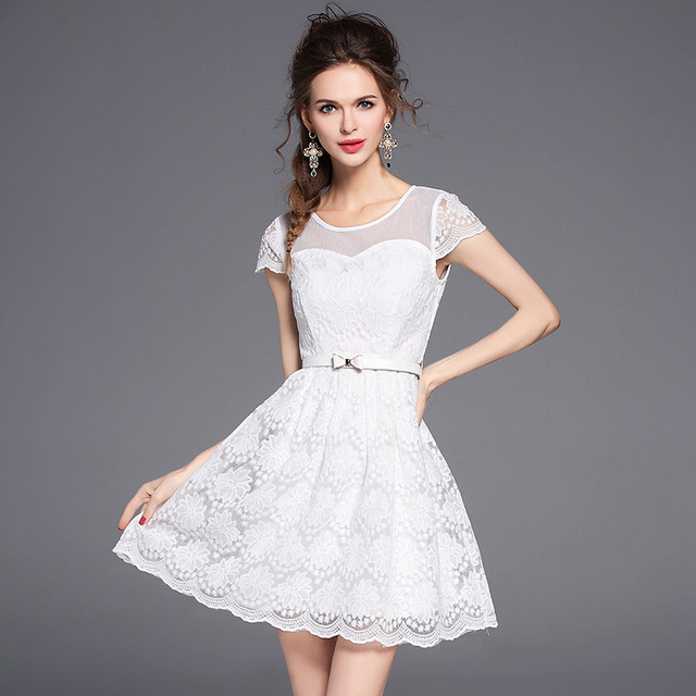 d6f88eceb2 US $46.0 |Latest Fashion Sundress A Dresses Net Yarn Splicing Perspective  Embroidery Short Sleeve White Bodycon Lace Frock Elegant Dress-in Dresses  ...