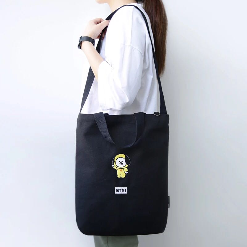 Kpop BTS Bangtan Boys Cartoon BT21 Top Qualität Baumwolle Tasche CHIMMY COOKY TATA Stickerei Schulter Tasche Frauen Mädchen Sling Tasche