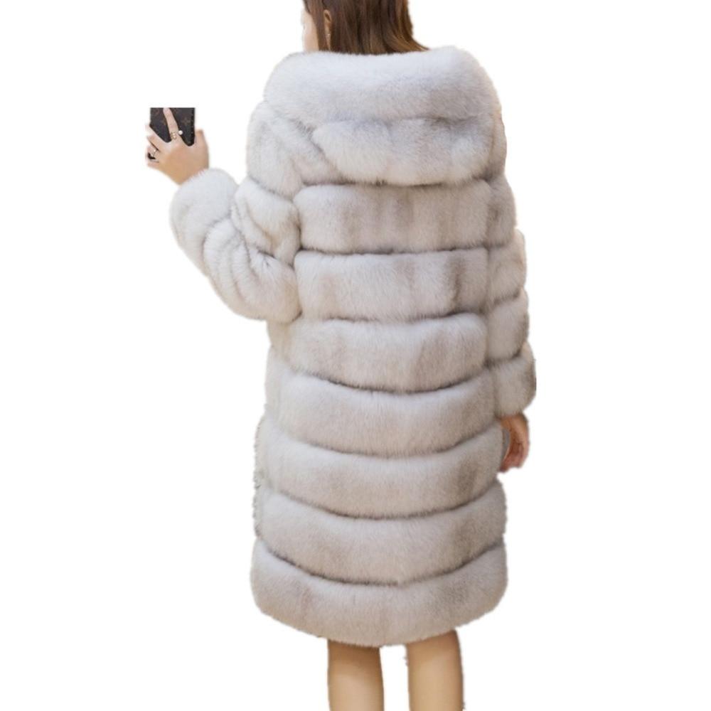 540ed3501a Lisa Colly Women Faux Fur Coat jacket Long Fox Faux Fur Coat Women Winter  Artifical Fur Coat Overcoat With Hooded Thick Fur Coat