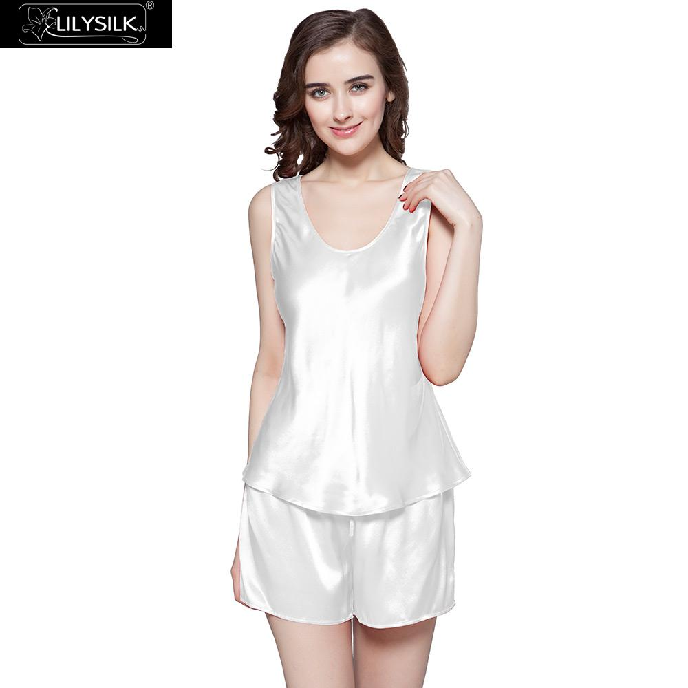 LilySilk Pajamas Set Women Pure 100 Silk Sleepwear 22 momme Luxury Natural  Tank with Shorts Sleep Women s Clothing Free Shipping-in Pajama Sets from  ... 1dd84cc4d